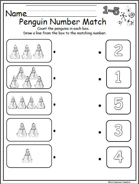 Free Winter Penguin Number Matching Worksheet