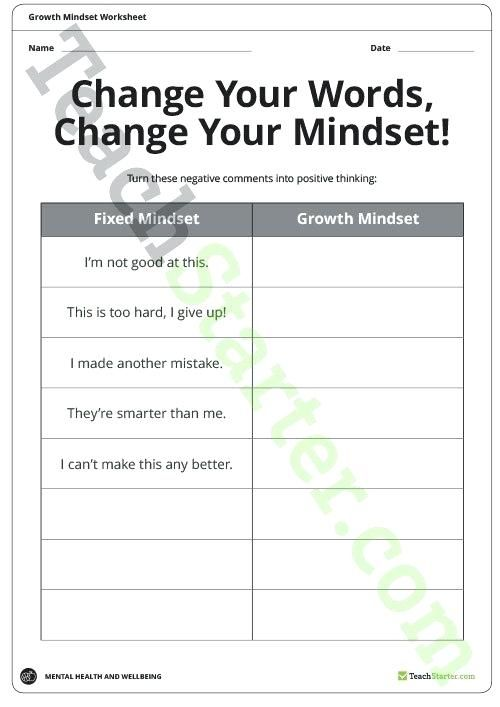 Growth Mindset Worksheets Teaching Resource Teach Starter Positive
