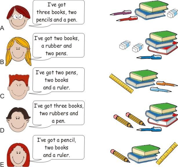 English Exercises  School Supplies