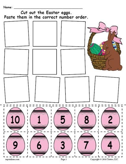 Free Printable Easter Egg Number Ordering Worksheet Numbers 1