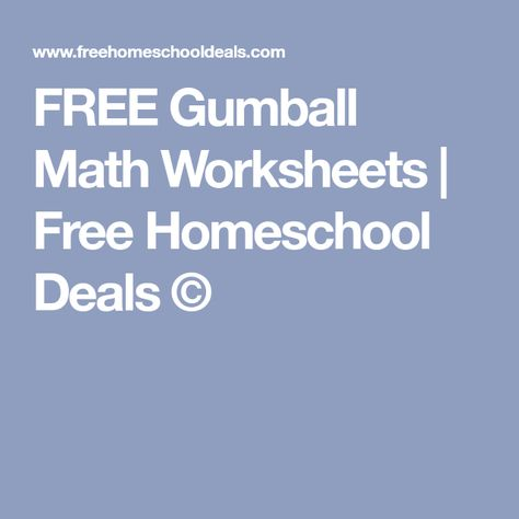 Free Gumball Math Worksheets