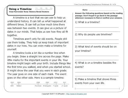 About This Worksheet Using A Timeline Grade Reading Comprehension