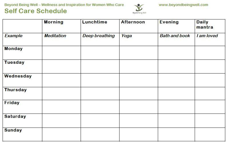 Printable Self Care Worksheets