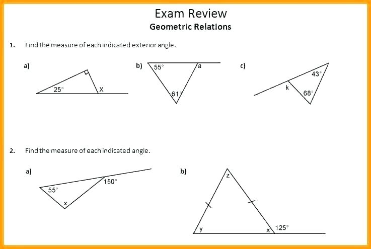 Angle Relationship Worksheets Calculating Angle Pair Relationships