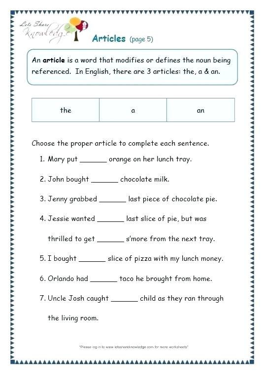 Articles In Worksheets Grade 2 English Grammar Tenses For Pdf