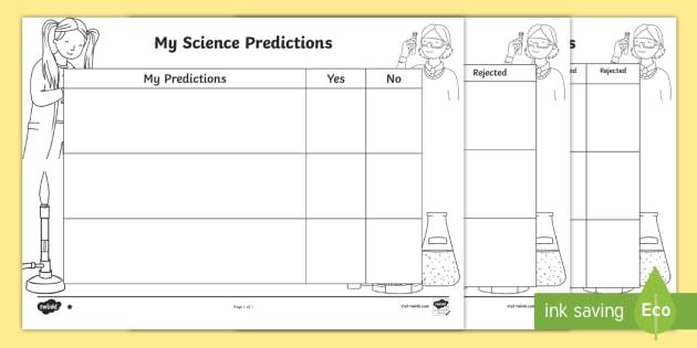 Science Predictions Differentiated Worksheet   Worksheets