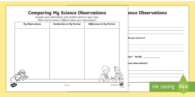 Comparing My Science Observations Worksheet   Worksheets