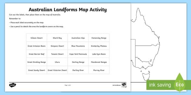 Australian Landforms Map Worksheet   Worksheet