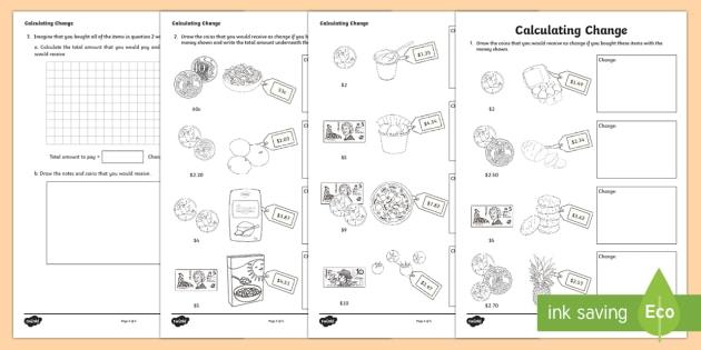 Calculating Change Worksheet   Worksheet