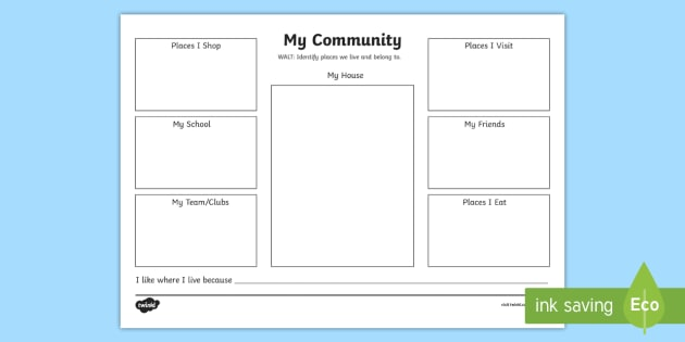 My Community Worksheet   Worksheet