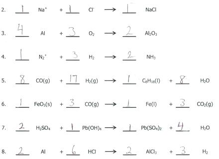 Balancing Chemical Ions Answers Practice Worksheet Answer Key Word