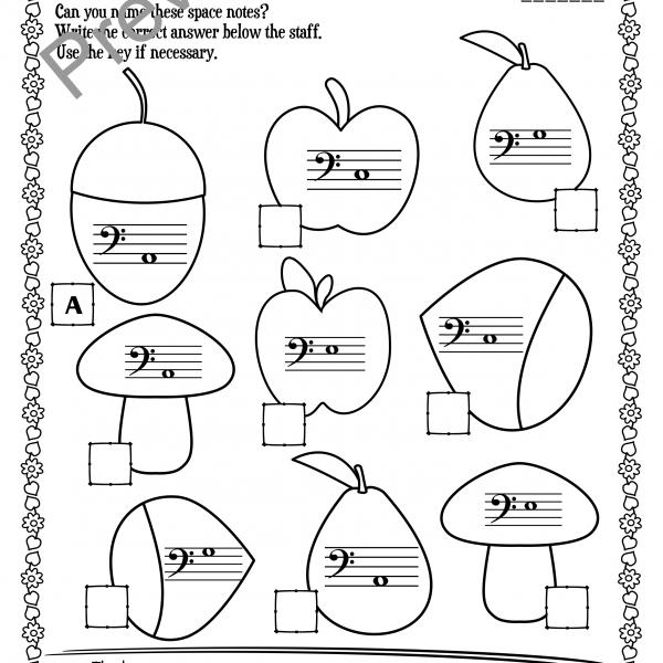 Bass Clef Note Naming Worksheets For Fall   Anastasiya Multimedia