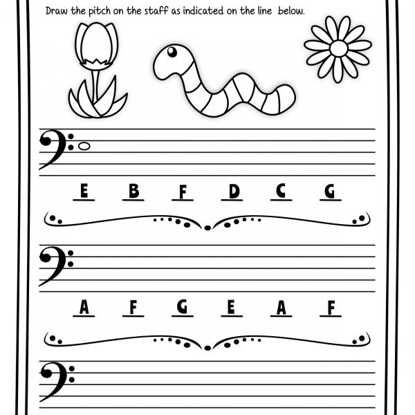 Bass Clef Note Naming Worksheets For Spring   Anastasiya