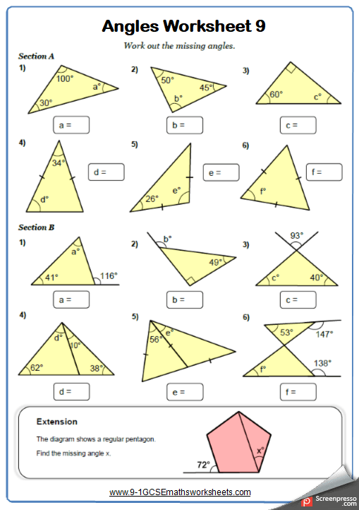 Angles In Triangles Maths Worksheet And Answers 9
