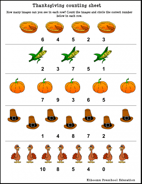 Thanksgiving Song And Counting Worksheet From Kiboomu Kids Songs