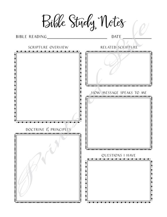Bible Study Notes  Pdf Printable  Instant Download  Church Journal
