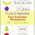 Fruits And Vegetables Worksheets For Grade 1