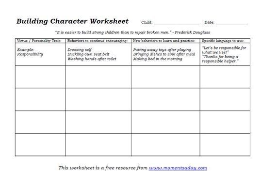 Free Character Building Worksheets (for Parents And Children