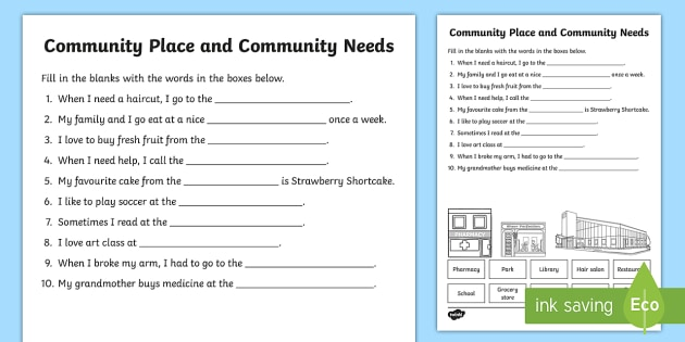 Community Places And Community Needs Fill In The Blanks Worksheet