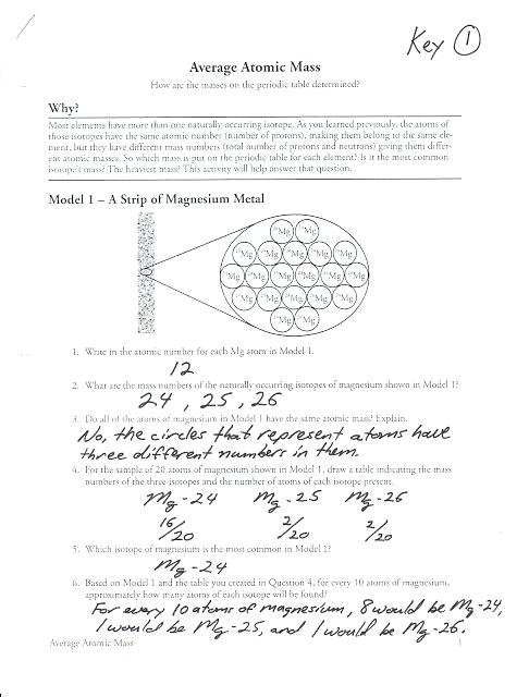 Calculating Atomic Mass Worksheet Isotopes And Average Atomic Mass