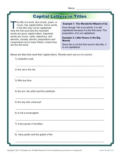 Free Printable Capitalization And Punctuation Worksheets Free