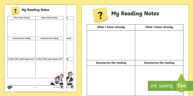 Reading Notes Worksheet   Worksheet
