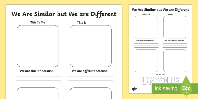 We Are Similar But We Are Different Worksheet