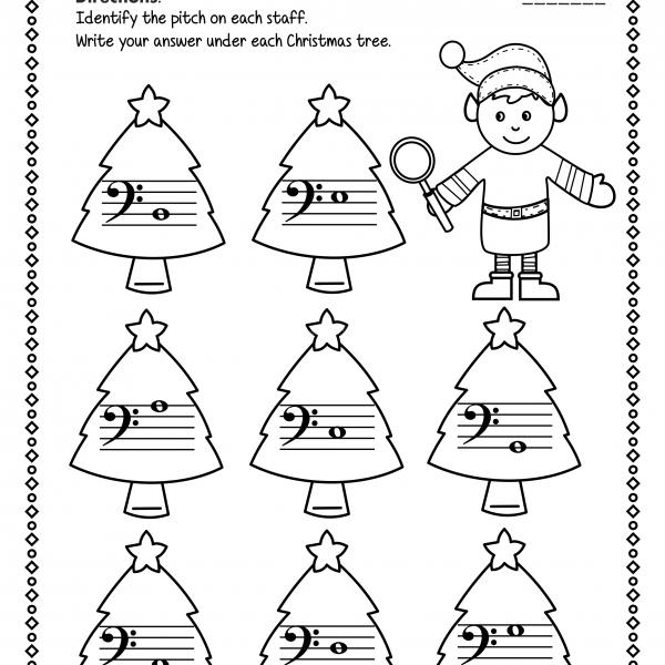 Christmas Bass Clef Note Reading Worksheets   Anastasiya
