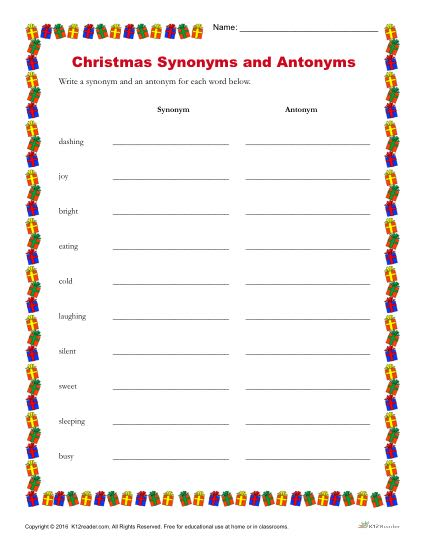 Christmas Synonyms And Antonyms