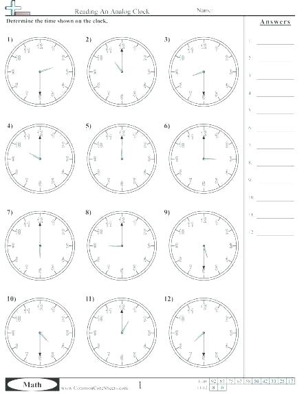 Clock Math Worksheets Clock Practice Worksheets Reading An Analog