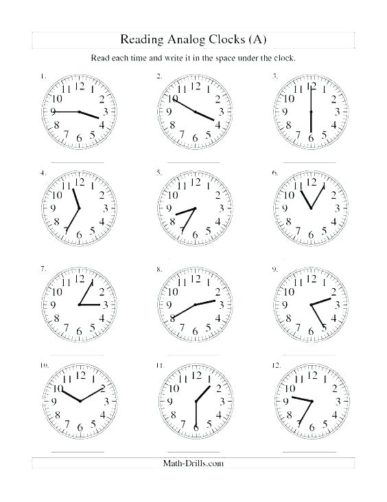 Clock Reading Math Free Printable Clock Worksheets For Grade
