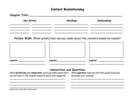 Creative Writing Brainstorming Worksheet Brainstorm Worksheet
