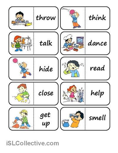 Action Words Domino Worksheet
