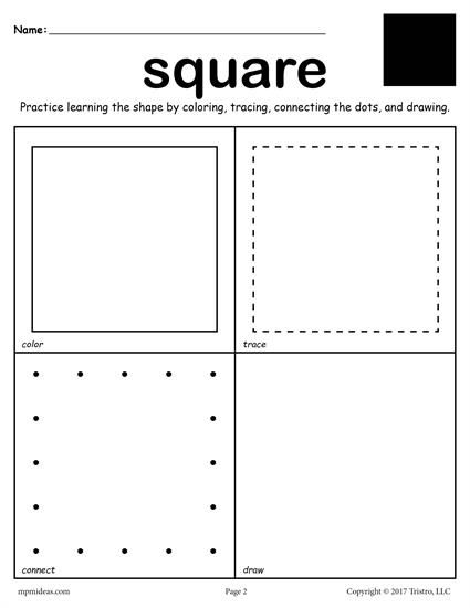 12 Shapes Worksheets  Color, Trace, Connect, & Draw