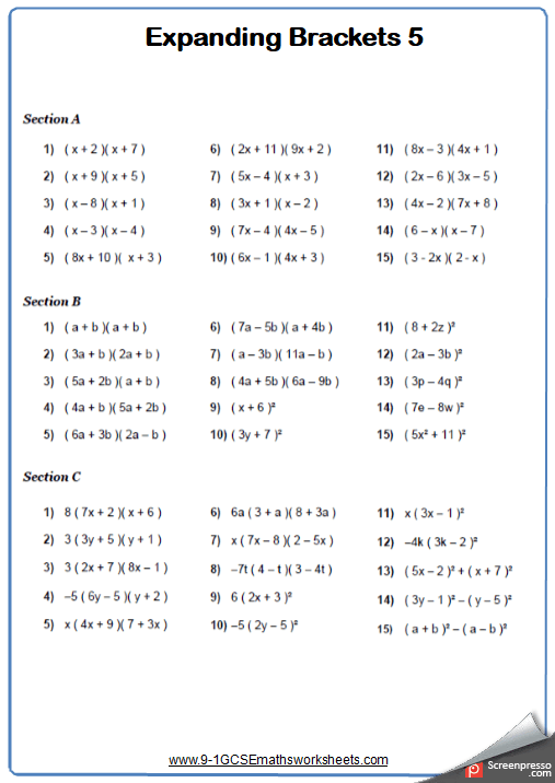 Expanding Double Brackets Traditional Maths Worksheet And Answers