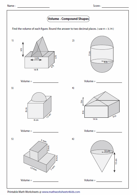 Volume Of Compound Shapes Lots Of Worksheets Students Can Print