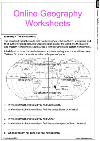 Grade 6 Online Geography Worksheets, Map Work  For More Worksheets