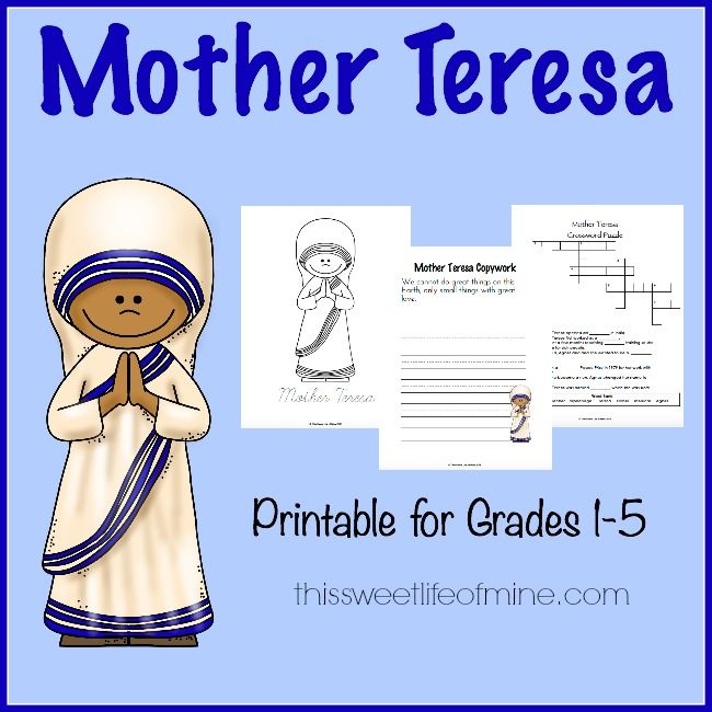 Free Mother Teresa Printable Pack Grades 1