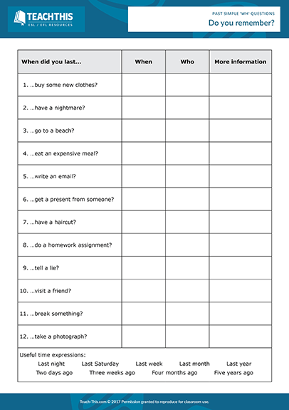 Past Simple Wh Questions Esl Activities Games Worksheets