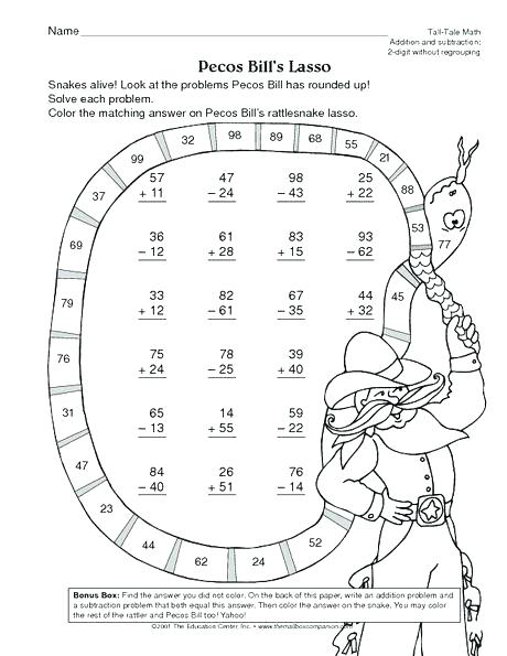 Double Digit Addition And Subtraction Coloring Pages Worksheets