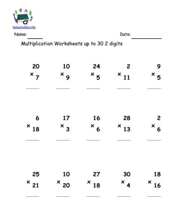 4th Grade Math 2 Digit Multiplication Worksheets – Eng Say