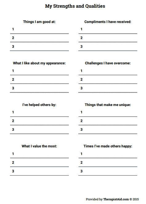 My Strengths And Qualities (worksheet