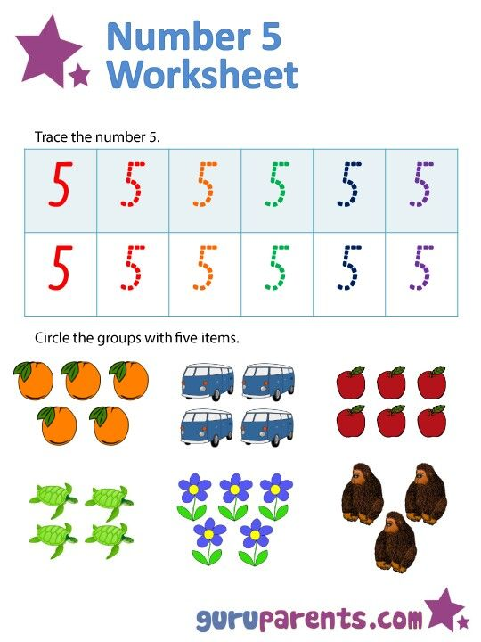 Number 5 Worksheet  Tracing The Number 5  Circle The Group With 5