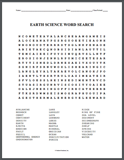 Earth Science Word Search Puzzle