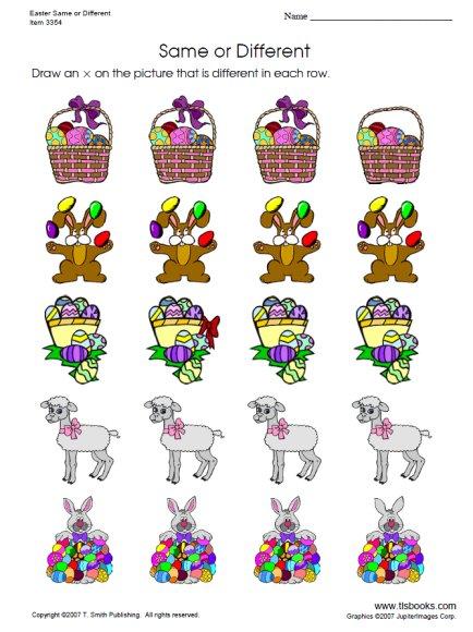 Easter Same Or Different Worksheet