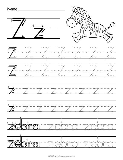 Free Printable Tracing Letter Z Worksheet