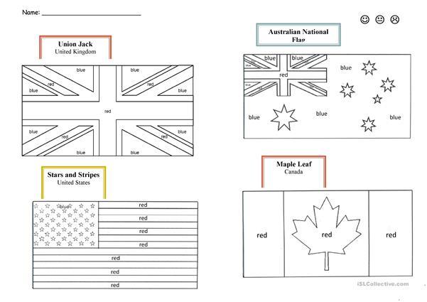 English Speaking Countries Flags Worksheet