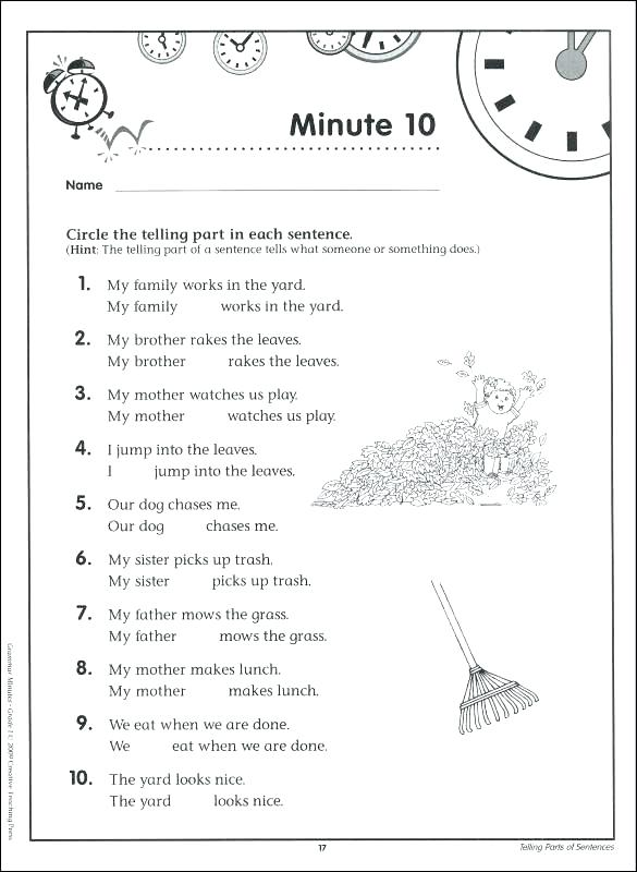English Worksheets For Class 1