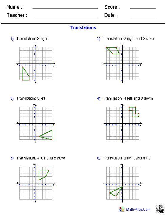 Translations Worksheets