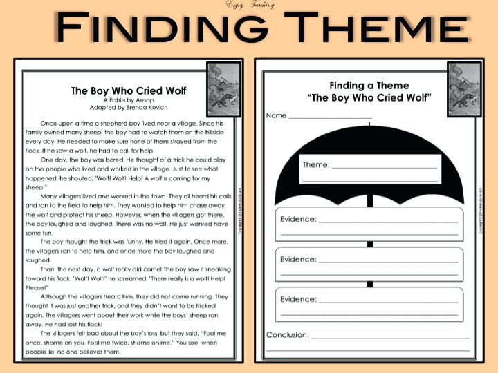 Worksheets For Theme Free Identifying 3rd Grade Worksheet